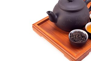 Chinese green tea set on wood tray 08.jpg