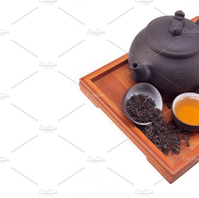 Chinese green tea set on wood tray 09.jpg - Food & Drink