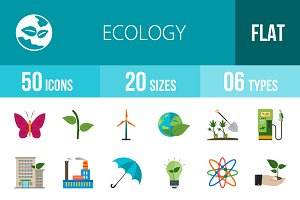 50 Ecology Flat Multicolor Icons