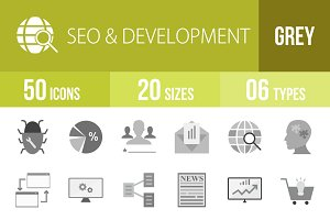 50 SEO & Development Greyscale Icons