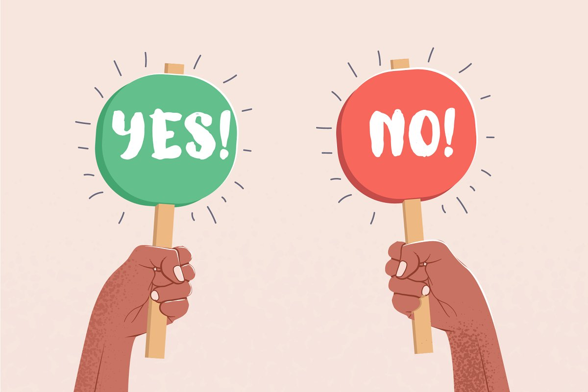 Yes and No caption. Choice concept. in Illustrations - product preview 8