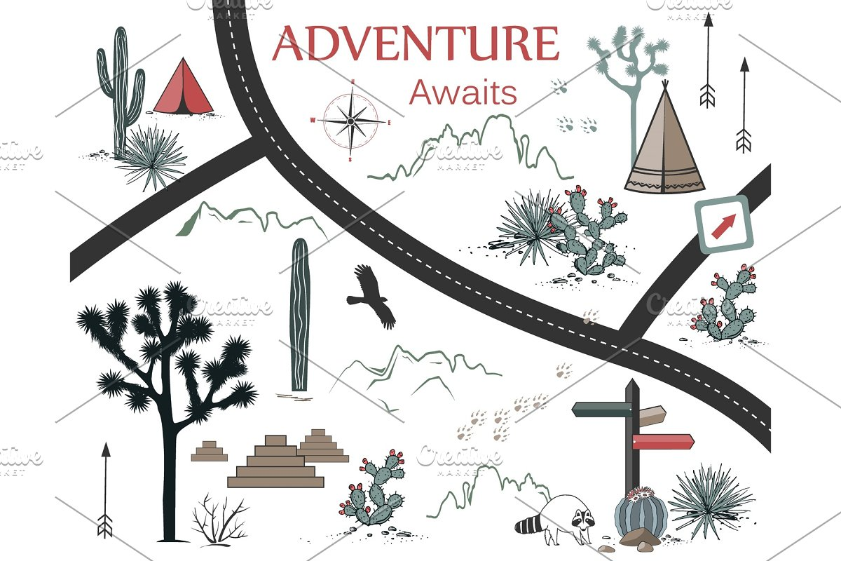 Roads, Mountains and Cacti Adventure in Illustrations - product preview 8
