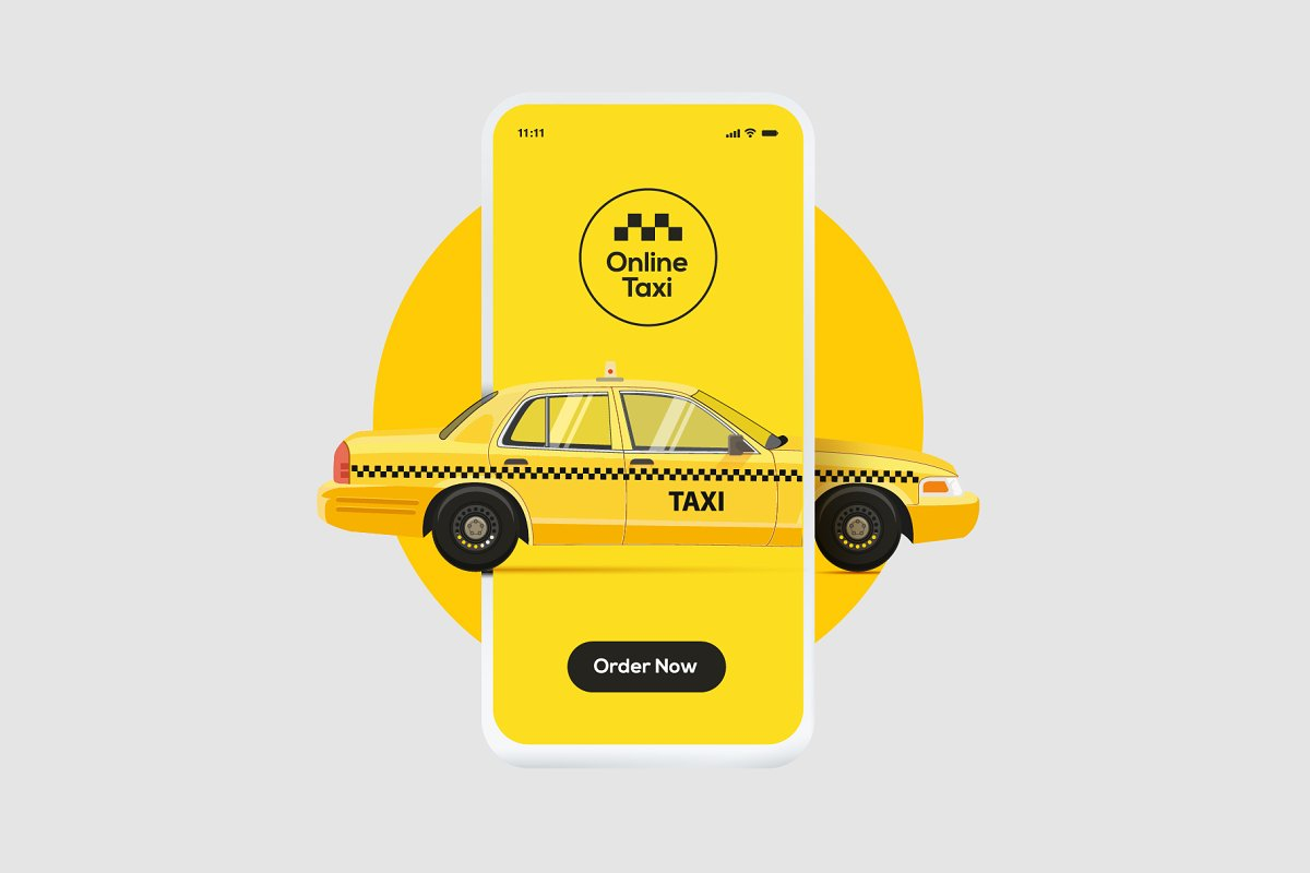 Online taxi ordering service banner in Illustrations - product preview 8
