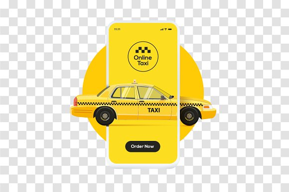 Online taxi ordering service banner in Illustrations - product preview 1