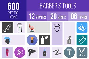 600 Barber's Tools Icons