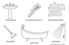 Vector pipeline plumbing icons