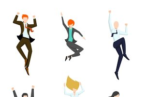 Jumping business people in the air