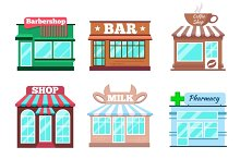 Store and shop buildings flat icons
