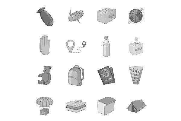 Refugees icons set, monochrome style