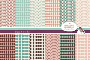 Harlequin Patterns on Vintage Paper