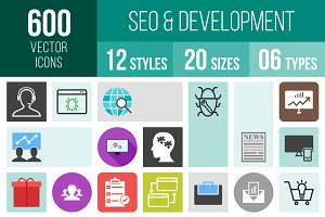 600 SEO & Development Icons