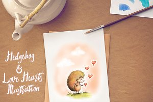 Hedgehog & Love Hearts Illustration