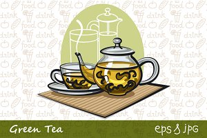 Green Tea Illustrations