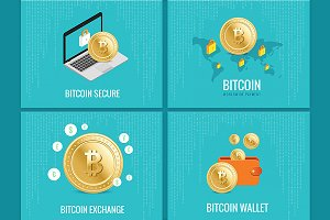 Bitcoin illustration set