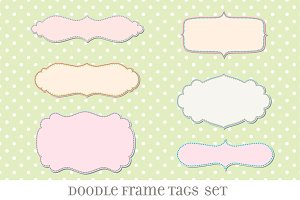 Retro Label Frames Shapes Set No 27