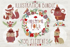Festive Folk Illustration Bundle