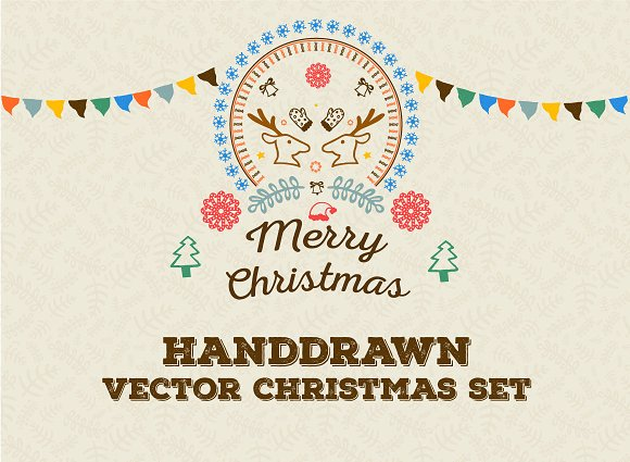 Hand-drawn Christmas Vector Goodies in Patterns
