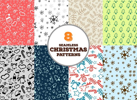Hand-drawn Christmas Vector Goodies in Patterns - product preview 1