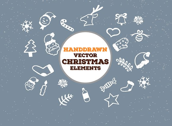 Hand-drawn Christmas Vector Goodies in Patterns - product preview 3