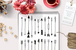 Handdrawn Arrows Vector & PS Brushes