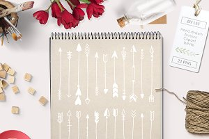 White Handdrawn Arrows 22 Graphics