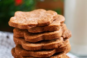 Ginger cookies on a festive backgrou
