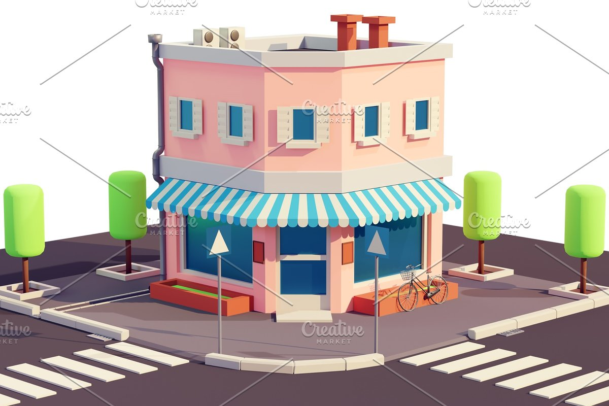 Bakery or shop building isometric
