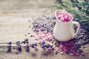 Sea salt  and dry lavender flowers