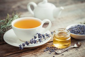 Healthy tea cup, honey and lavender
