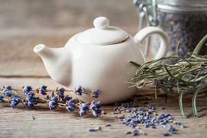 Teapot of healthy lavender tea