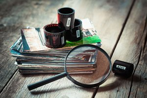 Photo film, photos and magnifier