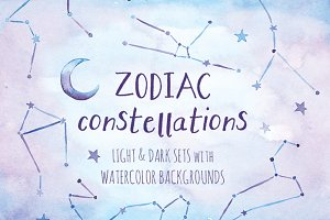 Zodiac Constellation Watercolor Pack