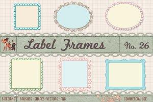Retro Label Frames Brushes Set No 26