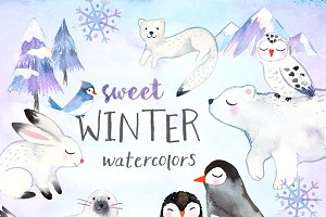 Winter Animals Watercolor Pack