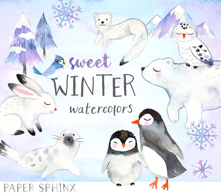 Winter Animals Watercolor Pack ~ Illustrations ~ Creative ...