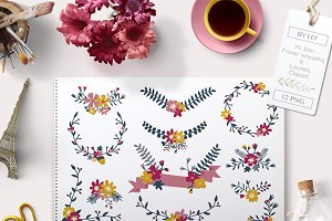 Floral Graphics Banners and Laurels