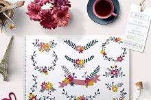 Flower Vector Banners and Laurels
