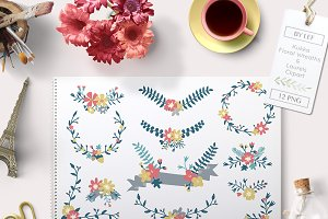 Floral Graphic Set Wreaths, Banners