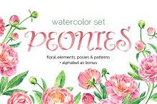 Watercolor peonies