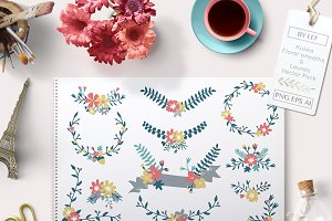 Vector Floral Wreaths and Banners