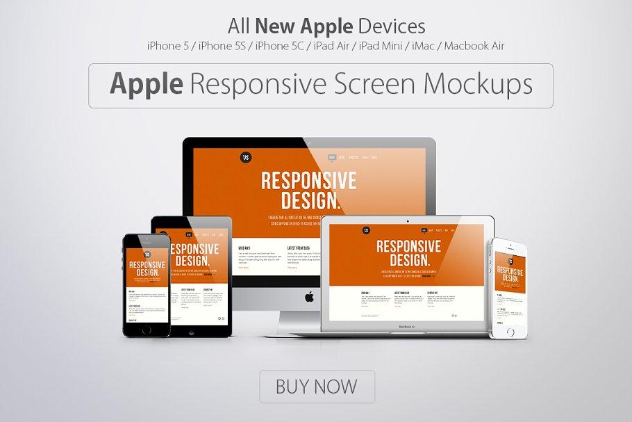 Apple Responsive Screen Mockups ~ Mobile & Web Mockups ~ Creative Market