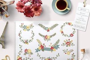 Vector Floral Banner Laurels Wreaths