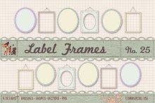 Retro Label Frames Shapes Set No 25