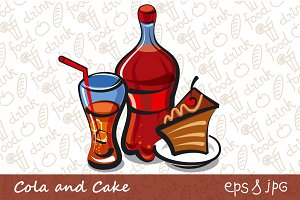 Cola and Cake Illustration