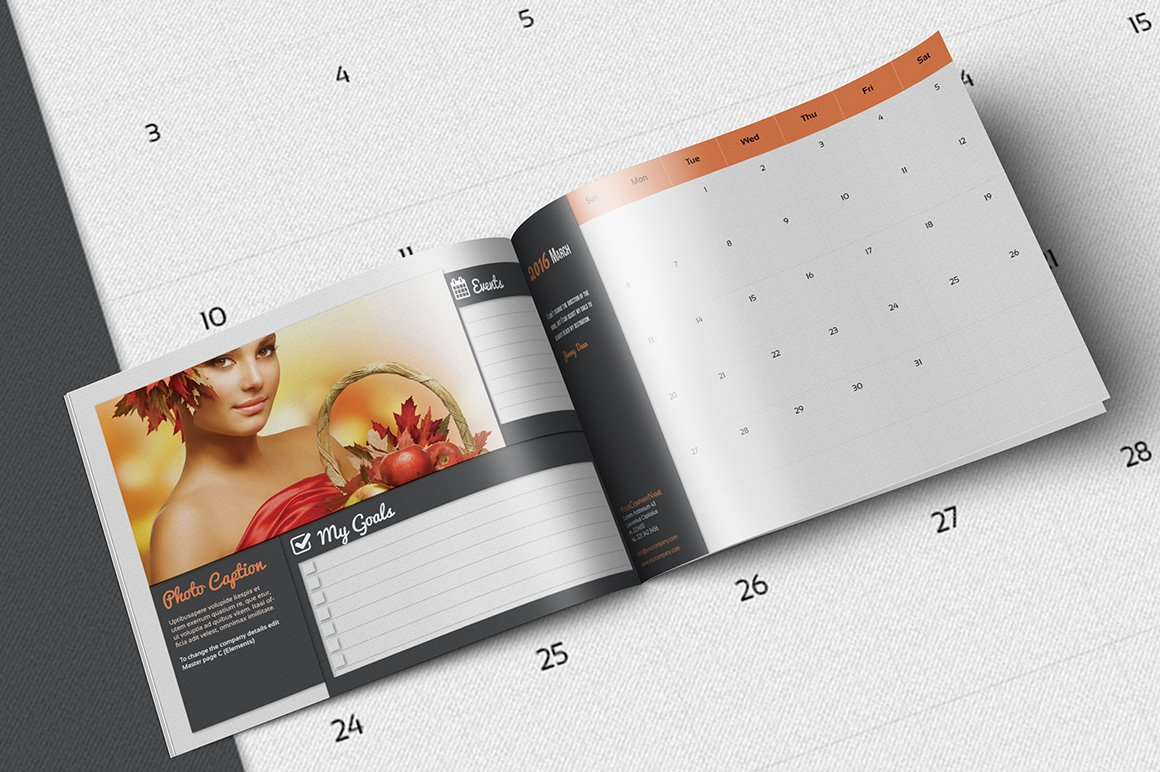 calendar organizer 2016 template templates creative market