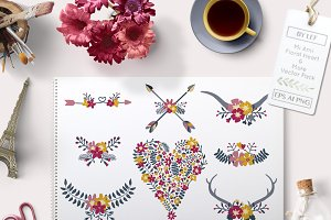 Vector Floral Heart Arrows and more