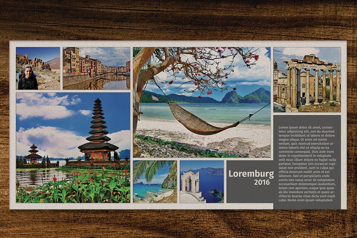 Travel Photo Album Template 7 X 7 Templates Creative Market