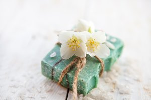 Spa setting with handmade soap  and