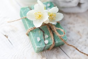 Spa setting with  jasmine blossom