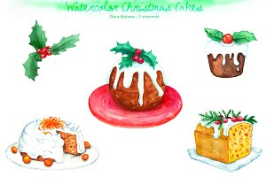 Watercolor Christmas Cake